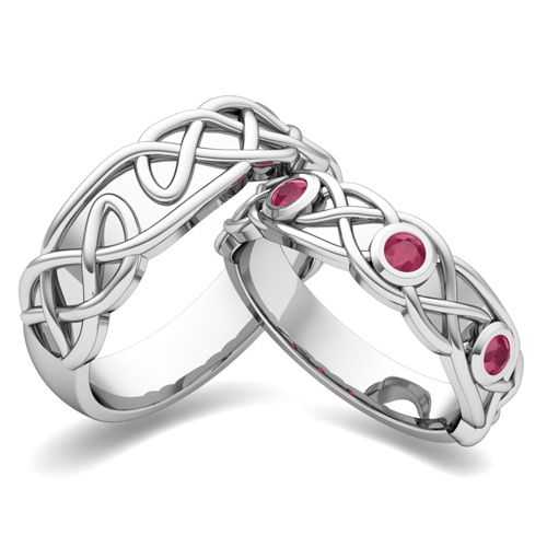 My Love Matching Wedding Band in 18k Gold Celtic Ruby Wedding Ring