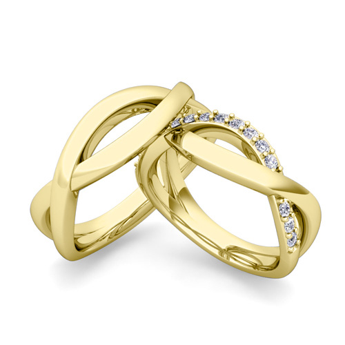 gold band jewelry wedding ring kaplan ravit faceted set product rose bands diamond classic ravitkaplanjewelryg