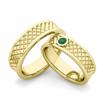 Matching Wedding Band in 18k Gold Emerald Fancy Wedding Rings