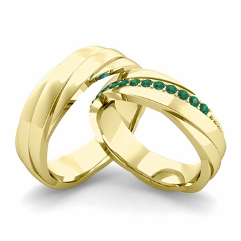 Matching Wedding Band in 18k Gold Emerald Rolling Wedding Rings