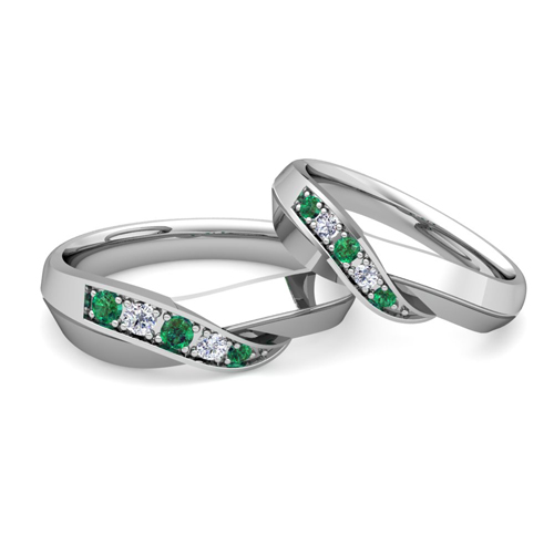 His and Her Matching Wedding Bands 18k Gold Infinity Emerald Ring