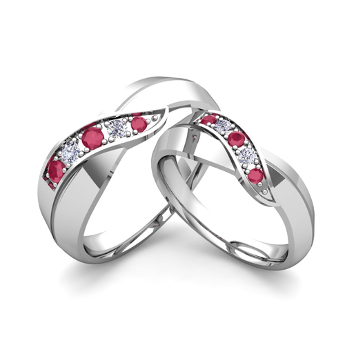 His and hers matching wedding bands 18k gold infinity ruby ring infinity wedding ring set junglespirit Image collections