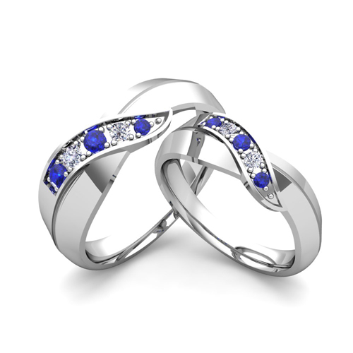 His and Her Matching Wedding Bands 18k Gold Infinity Sapphire Ring