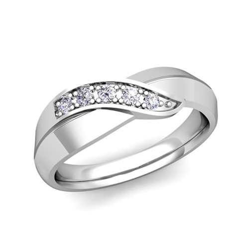 Infinity Wedding Band.His And Her Matching Wedding Bands 18k Gold Infinity Diamond