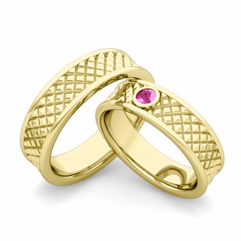 Matching Wedding Band in 18k Gold Pink Sapphire Fancy Wedding Rings