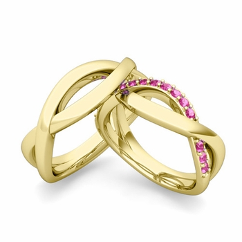 Matching Wedding Band in 18k Gold Pink Sapphire Infinity Wedding Rings