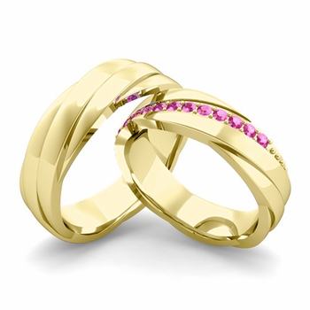 Matching Wedding Band in 18k Gold Pink Sapphire Rolling Wedding Rings