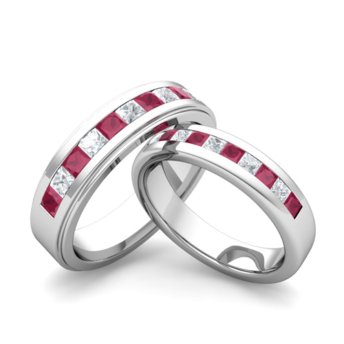 His Hers Wedding Ring in 18k Gold Princess Cut Diamond Ruby Ring