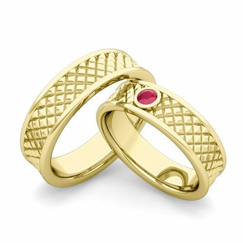 Matching Wedding Band in 18k Gold Ruby Fancy Wedding Rings