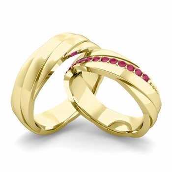 Matching Wedding Band in 18k Gold Ruby Rolling Wedding Rings