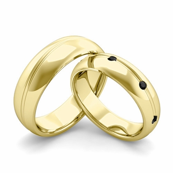 Matching Wedding Band in 18k Gold Wave Black Diamond Wedding Rings