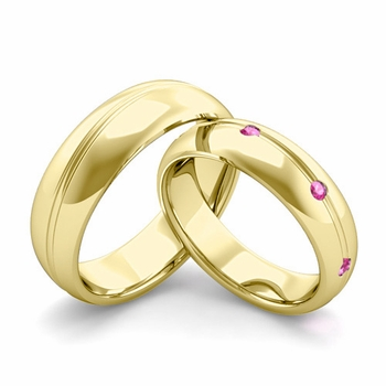 Matching Wedding Band in 18k Gold Wave Pink Sapphire Wedding Rings