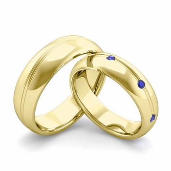 Matching Wedding Band in 18k Gold Wave Sapphire Wedding Rings