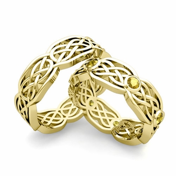 Matching Wedding Band in 18k Gold Yellow Sapphire Celtic Knot Wedding Rings