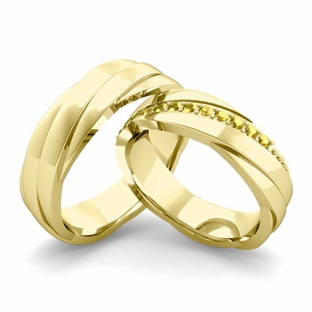Matching Wedding Band in 18k Gold Yellow Sapphire Rolling Wedding Rings