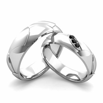 Matching Wedding Band in Platinum 3 Stone Black Diamond Wedding Rings