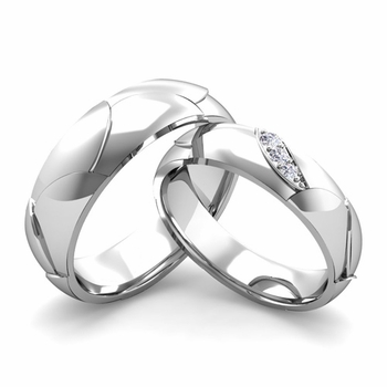 Matching Wedding Band in Platinum 3 Stone Diamond Wedding Rings