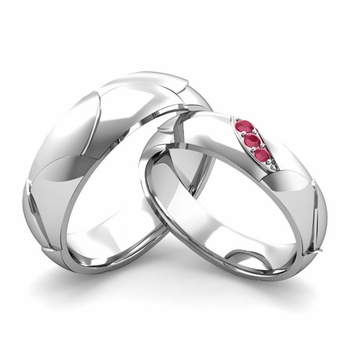 Matching Wedding Band in Platinum 3 Stone Ruby Wedding Rings