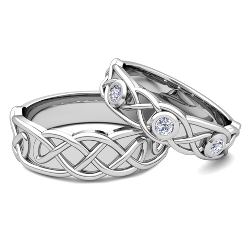 matching wedding band platinum celtic diamond wedding ring With celtic knot wedding ring sets