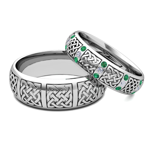 His Hers Wedding Bands In Platinum Celtic Emerald Diamond Ring
