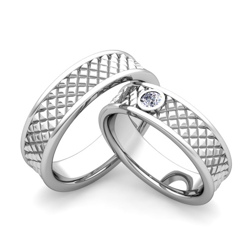 Matching Wedding Bands Diamond Fancy Wedding Ring in Platinum