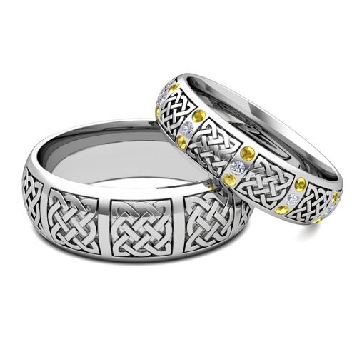 Hers Matching Wedding Bands Platinum Celtic Yellow Sapphire Ring