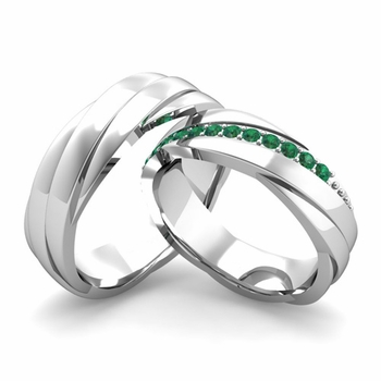 Matching Wedding Band in Platinum Emerald Rolling Wedding Rings