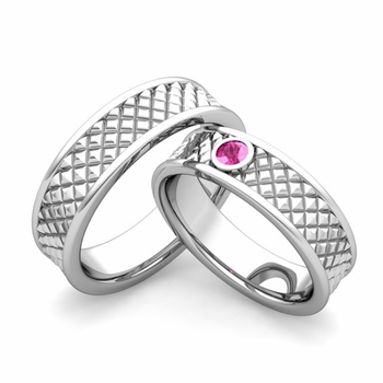 Matching Wedding Band in Platinum Pink Sapphire Fancy Wedding Rings