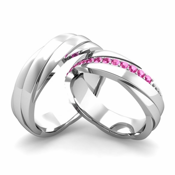 Matching Wedding Band in Platinum Pink Sapphire Rolling Wedding Rings