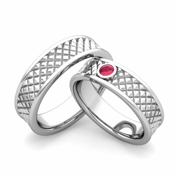 Matching Wedding Band in Platinum Ruby Fancy Wedding Rings