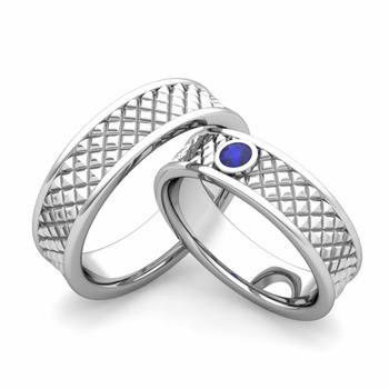 Matching Wedding Band in Platinum Sapphire Fancy Wedding Rings
