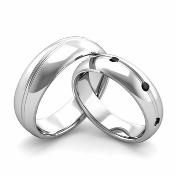 Matching Wedding Band in Platinum Wave Black Diamond Wedding Rings