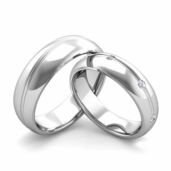 Matching Wedding Band in Platinum Wave Diamond Wedding Rings