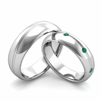 Matching Wedding Band in Platinum Wave Emerald Wedding Rings
