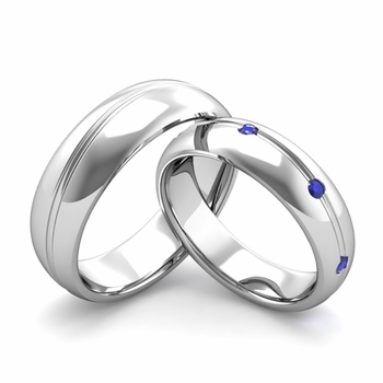 Matching Wedding Band in Platinum Wave Sapphire Wedding Rings
