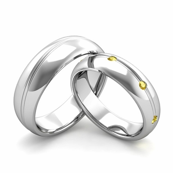 Matching Wedding Band in Platinum Wave Yellow Sapphire Wedding Rings