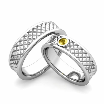 Matching Wedding Band in Platinum Yellow Sapphire Fancy Wedding Rings