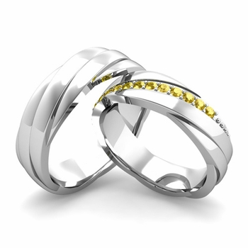 Matching Wedding Band in Platinum Yellow Sapphire Rolling Wedding Rings