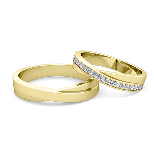 Wedding Ring Po Ideas | Matching Wedding Band Infinity Diamond Wedding Ring Set In 18k Gold