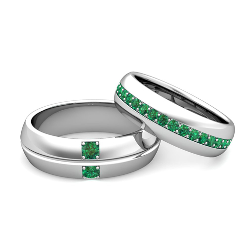 Love His Hers Matching Emerald Wedding Bands in Platinum