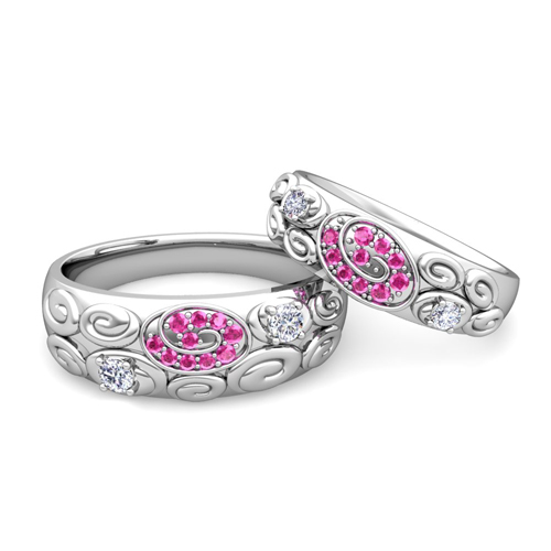 His and Hers Wedding Ring 18k Gold Swirl Pink Sapphire Wedding Bands