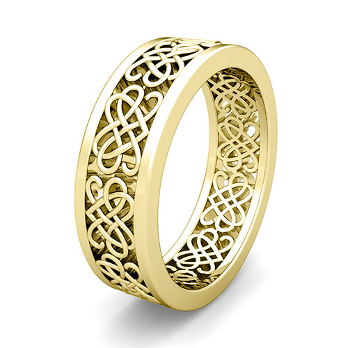 Celtic Heart Knot Wedding Band In 18k Gold Comfort Fit Ring, 7mm