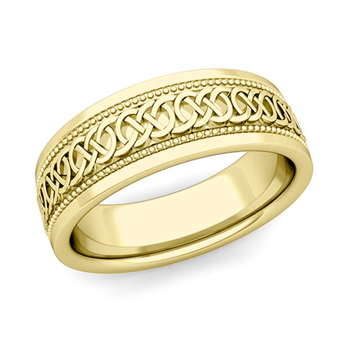 Celtic Knot Wedding Band In 14k Gold Milgrain Comfort Fit Ring, 7mm