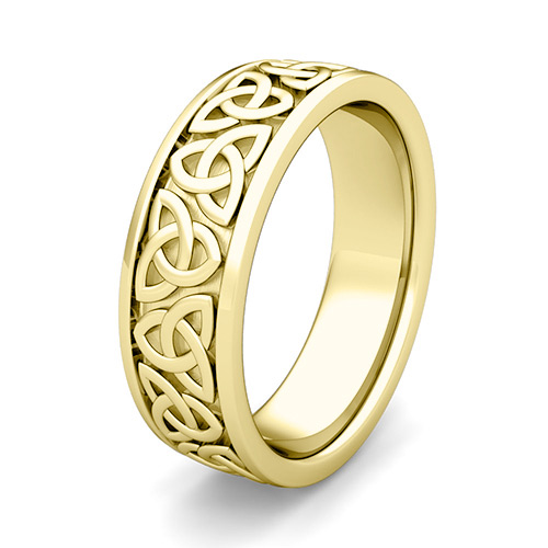 Custom Celtic Comfort Fit Wedding Ring Band in Gold and Platinum