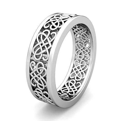 Celtic Heart Knot Wedding Band In 18k Gold Comfort Fit Ring 7mm