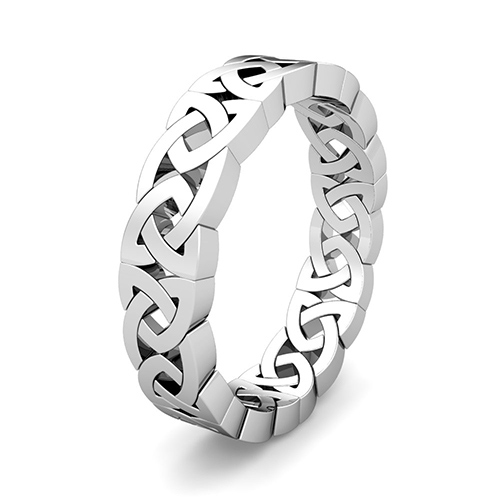 Celtic Knot Wedding Ring For Men In Platinum Comfort Fit Eternity Band