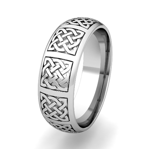 Mens Celtic Knot Wedding Band In 18k Gold Comfort Fit Ring 7mm