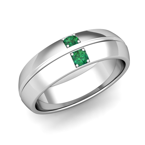 Mens Emerald Wedding Ring Comfort Fit Wedding Band in 18k Gold