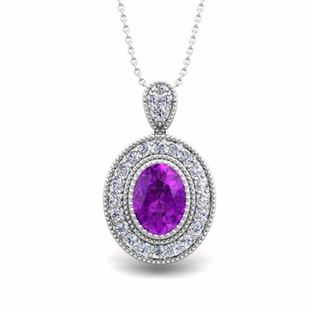 Milgrain Diamond and Amethyst Halo Necklace in 14k Gold 8x6mm