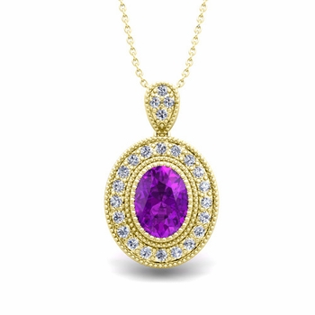 Milgrain Diamond and Amethyst Halo Necklace in 18k Gold 8x6mm